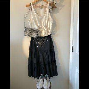 Sz7 Aline skirt beading/ruffle detail